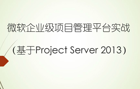 微軟企業級項目管理平臺實戰(基于Project Server 2013)