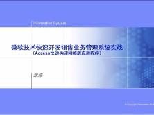 微软技术快速开发企业销售系统视频课程(ACCESS开发网络版企业应用系统)