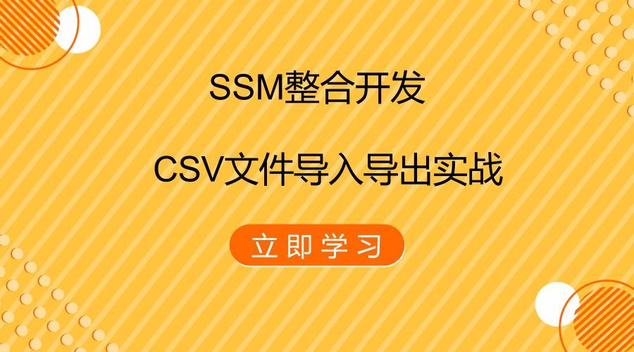 SSM整合开发之CSV文件导入导出实战视频课程
