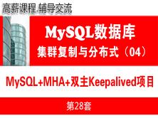 MySQL主從復制項目(MHA+雙主Keepalived)_MySQL高可用復制與分布式集群架構04