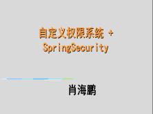 项目实战:自定义权限系统+SpringSecurity