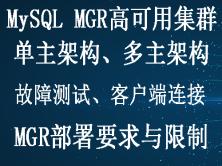 MySQL MGR组复制技术集群高可用实战视频教程