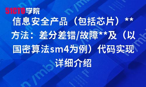 信息安全产品(包括芯片)评估方法:差分差错/故障引入及(以国密算法sm4为例)代码实现详细介绍